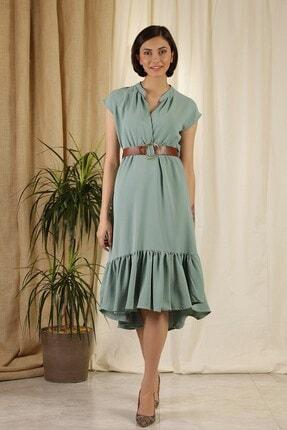 Zindi Kadın Kemerli Elbise Yeşil
