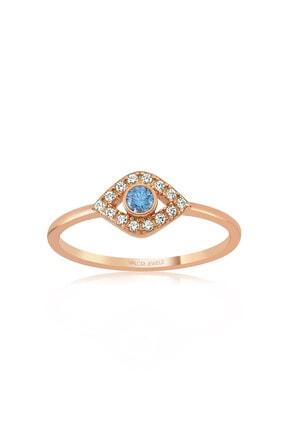 Valori Jewels Mini Nazar Gözü, Swarovski Zirkon Mavi Ve Beyaz Taşlı, Rose Gümüş Yüzük