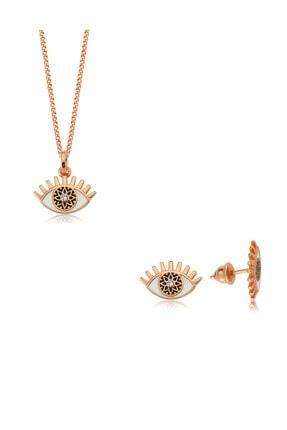 Valori Jewels Büyülü Nazar Gözü, Swarovski Zirkon Beyaz Taşlı, Rose Gümüş Set