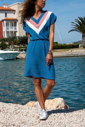 Güneşkızı Kadın Indigo V Yaka Bloklu Beli Lastikli Elbise Gk-bst2855