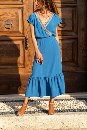 Güneşkızı Kadın Indigo Hasır Işlemeli Eteği Fırfırlı Uzun Elbise Gk-bst2556