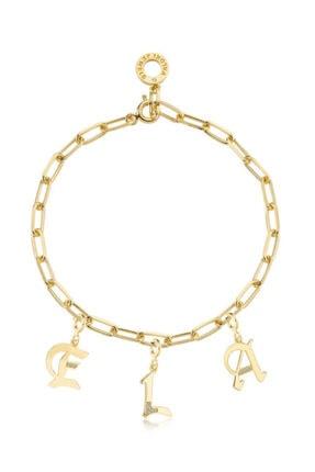 Valori Jewels Harf, Swarovski Zirkon Taşlı, Altın Rengi Gümüş Charm Bileklik Kombini