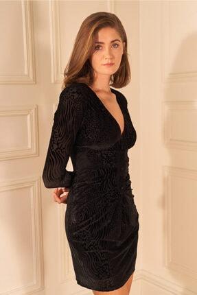 adL Kadın Siyah Drapeli Kadife Mini Elbise