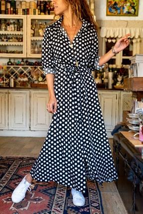 Güneşkızı Kadın Siyah Puantiyeli Uzun Gömlek Elbise Gk-bstt4012-1090