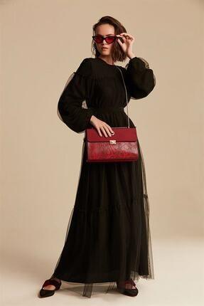 Nihan Tüllü Elbise - Siyah X0405