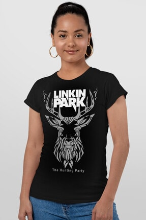 Rock & Roll34 Kadın Siyah Geometrik Geyik Kısa Kollu T-shirt