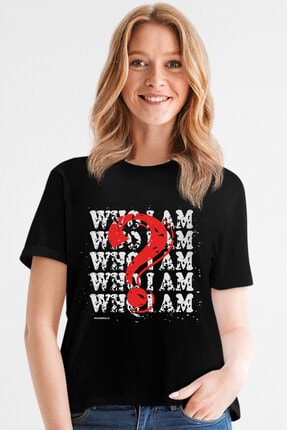 Rock & Roll34 Kadın Siyah Ben Kimim Kısa Kollu T-shirt