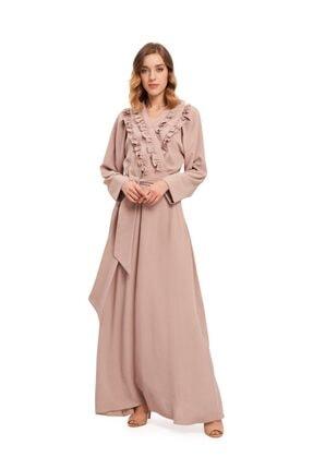 Mizalle Kadın Bej Kruvaze Önü Fırfırlı Elbise 20YGMZL1010010
