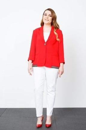 Moda İlgi Modailgi Şeritli Ceket Kırmızı
