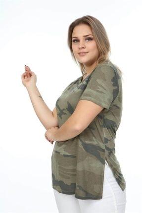 Seamoda Kadın Haki Yuvarlak Yaka Kamuflaj Desen Yanı Yırtmaçlı  Tshirt