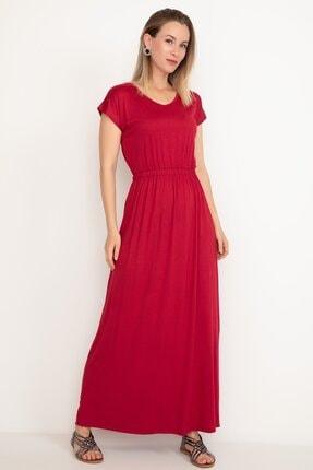 D-Paris Kadın Bordo Bel Lastikli Uzun Elbise