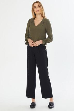 Naramaxx Kadın Siyah Bol Paça Siyah Pantolon 18Y11113Y469001-Sıyah