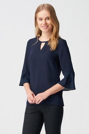 Naramaxx Kadın Lacivert Yaka Detaylı Bluz 18Y111181239028-Lacıvert