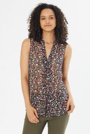 Naramaxx Kadın 1152-Siyah Çiçekli Desen V Yaka Kolsuz Bluz 18Y111181030-1152-Siyah Çiçekli Desen