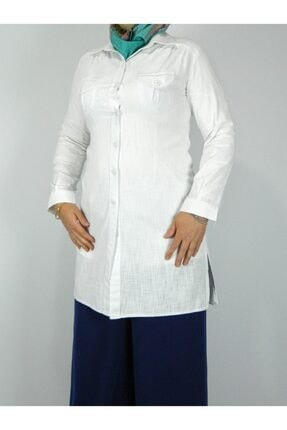 Eflatun Kadın Beyaz Tesettür Tunik