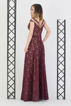 Günay Giyim Kadın Mürdüm Askılı Abiye Elbise 17330010101310