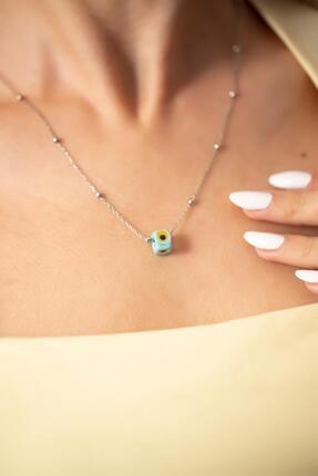 Ninova Silver Toplu Model Mavi Nazarlık Gümüş Kolye