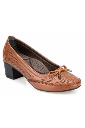 Polaris Taba Kısa Topuklu Kadın Ayakkabı