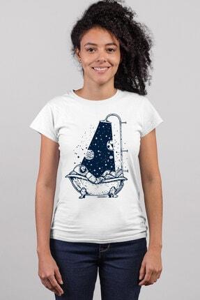 Rock & Roll34 Astro Duş Beyaz Kısa Kollu Kadın T-shirt