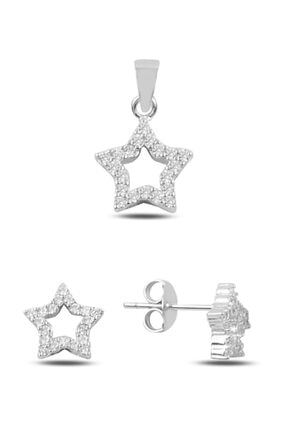 Silverella Gümüş 925 Ayar Zirkon Taşlı Yıldız Küpe & Kolye Ucu Set