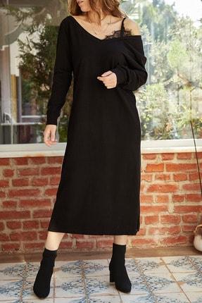 Xhan Kadın Siyah Tek Omuz Dantel Detaylı Yırtmaçlı Elbise 9yxk6-41941-02