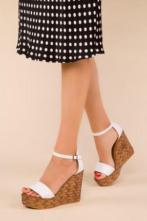 SOHO Beyaz Kadın Dolgu Topuklu Ayakkabı 15089
