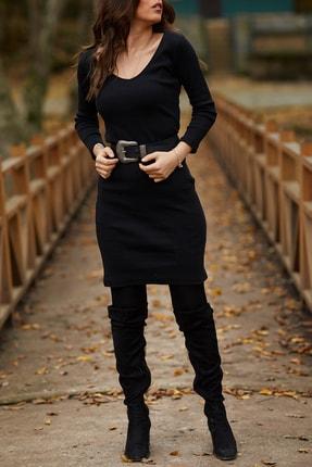Xhan Kadın Siyah V Yaka Balık Elbise  9KXK6-41663-02