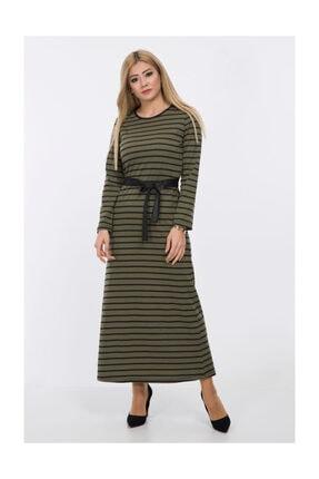 Afvente Beli Kuşaklı Çizgili Elbise 2254 Haki