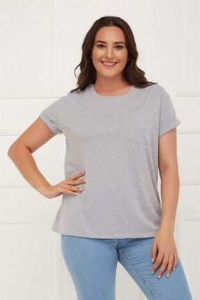 Seamoda Duble Kol Geniş Form Cepli Basic Tshirt-gri