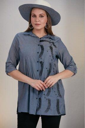 Rmg Kadın Mavi Baskılı Taşlı Büyük Beden Gömlek