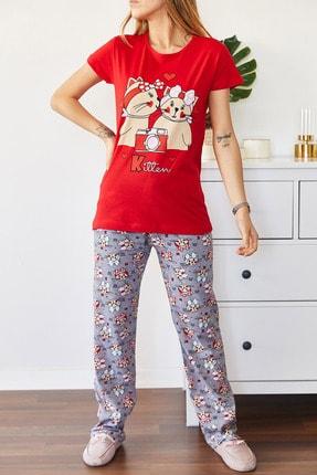 Xhan Kadın Kırmızı Baskılı Pijama Takımı 0yxk8-43681-04