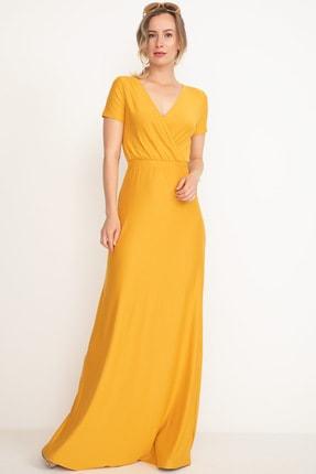 D-Paris Kadın Hardal Kruvaze Yaka Uzun Elbise