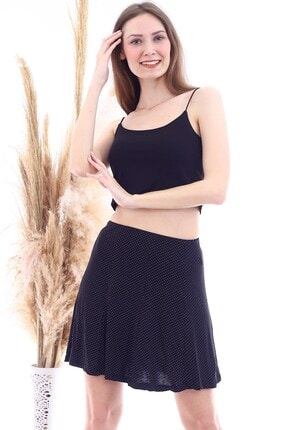 Cotton Mood 20064746 Süprem Desenli Parçalı Kısa Etek Sıyah Puan