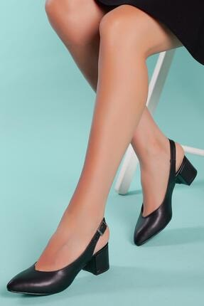 Muggo Kadın Siyah Topuklu Ayakkabı Gzhw711