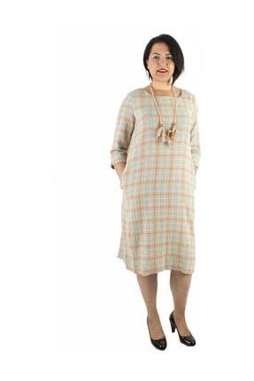 Günay Giyim Kadın Bej Keten Elbise 77203200003310