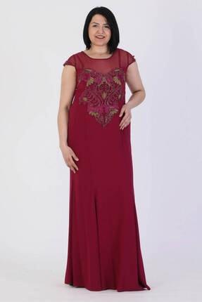 Günay Giyim Kadın Mürdüm Düşük Kol Abiye Elbise 41283200001433