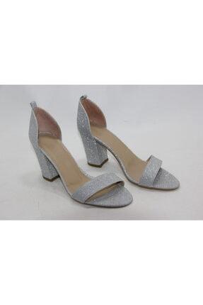 İnci Kadın  Gümüş  renk   Hakiki Deri Topuklu Ayakkabı