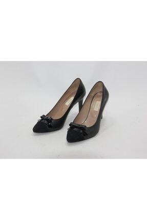 İnci Kadın Siyah Hakiki Deri Topuklu Ayakkabı