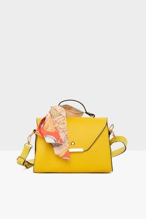 Bagmori Sarı Kadın Kapaklı Şallı Askılı Çanta M000003228