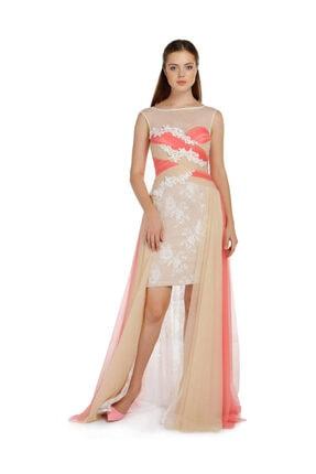 Günay Giyim Kadın Krem Düşük Kol Abiye Elbise 41243100005809