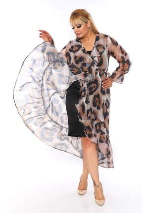 ANGELINO Kadın Şifon Leopar Desenli Elbise
