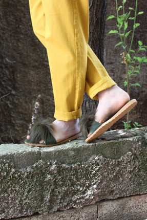 Kadın Yeşil Pabucca Tüylü İnce Taban Terlik CUMH-34-00074
