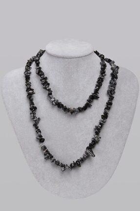 Saff Doğal Taş Obsidyen Doğal Taş Kolye 201343