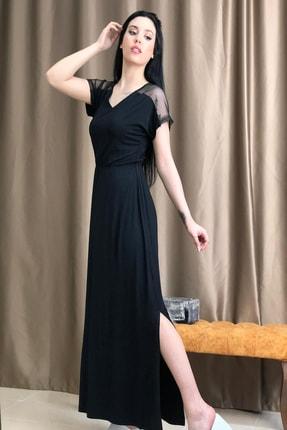 TREND Yeni Sezon Omuzları File Detaylı Siyah Bayan Elbise