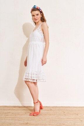 Eka Dantel Işlemeli Omuz Askılı Elbise