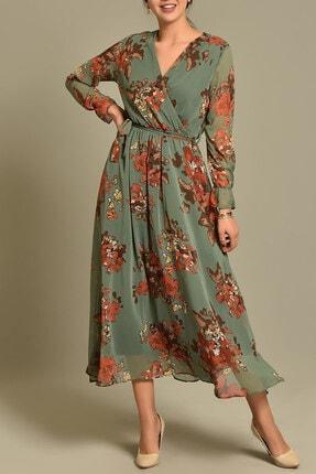 Yeşil Çiçekli Uzun Kruvaze Yaka Şifon Elbise ELBISEDELISI-0004