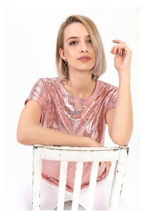 Tiffany A0033 Yuvarlak Yaka Varaklı T-shirt