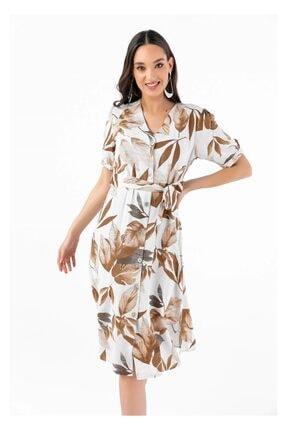 Tiffany A0276 Büzgü Kol Palmiyeli Elbise
