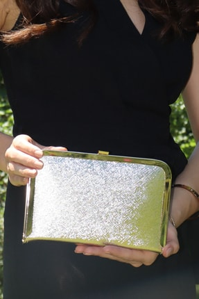 Tablet Varaklı Altın Prada Abiye Çanta WEEM0121