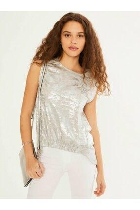 XINT Xınt Bayan Yuvarlak Yaka Payet Işlemeli Kolsuz Bluz 601510